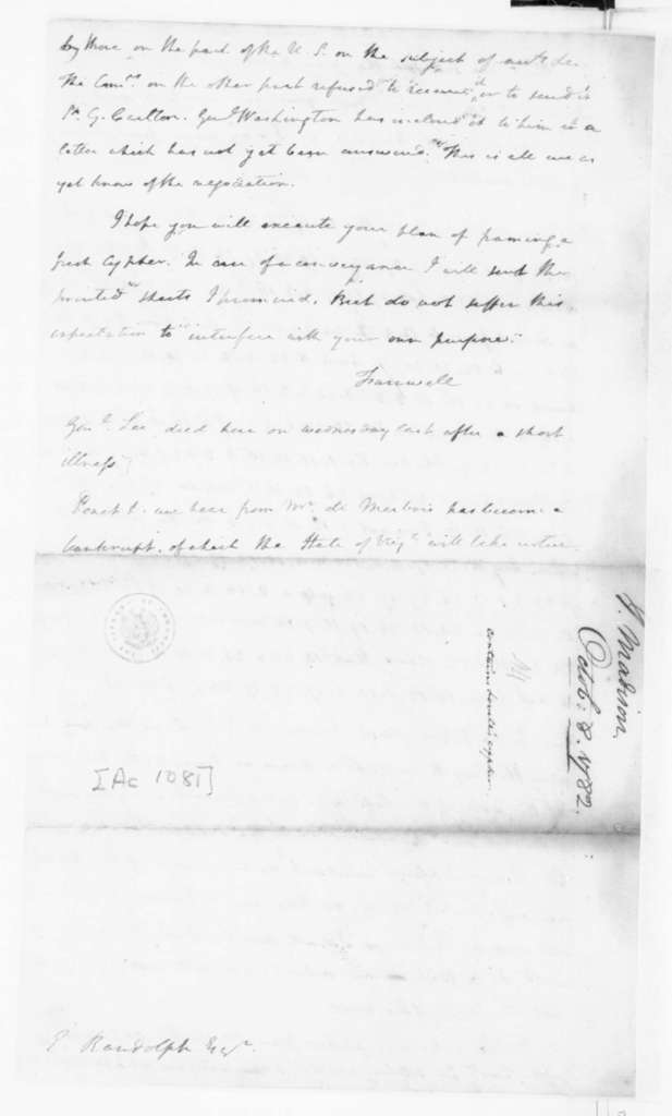 James Madison to Edmund Randolph, October 8, 1782. Partly in Cipher.