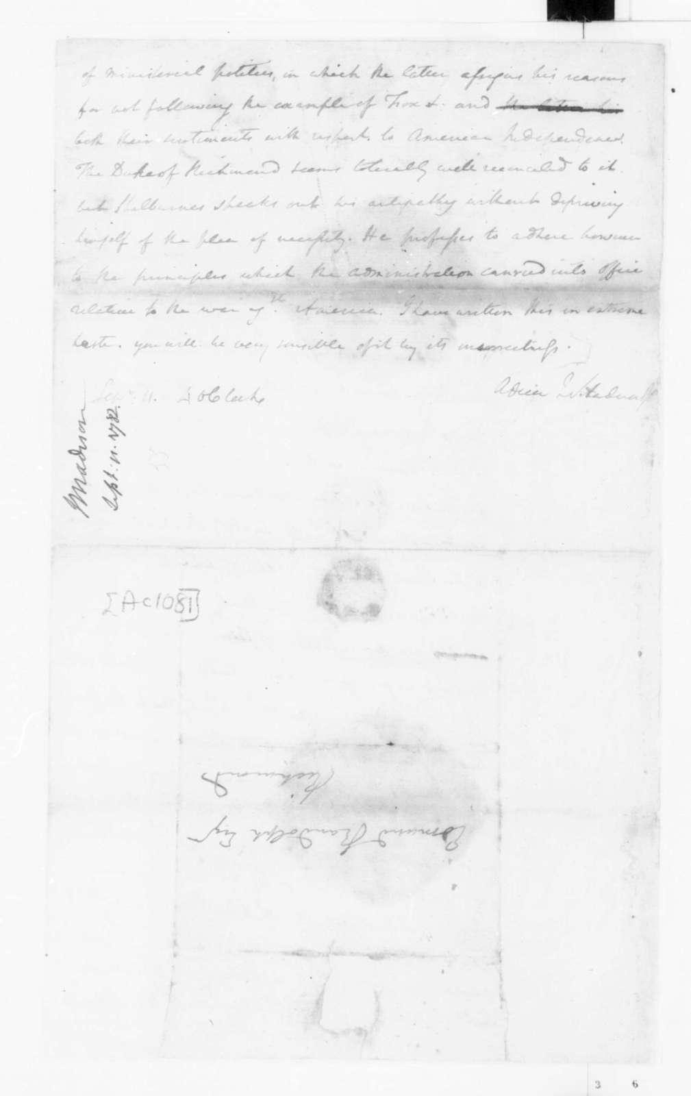 James Madison to Edmund Randolph, September 11, 1782. with copy.