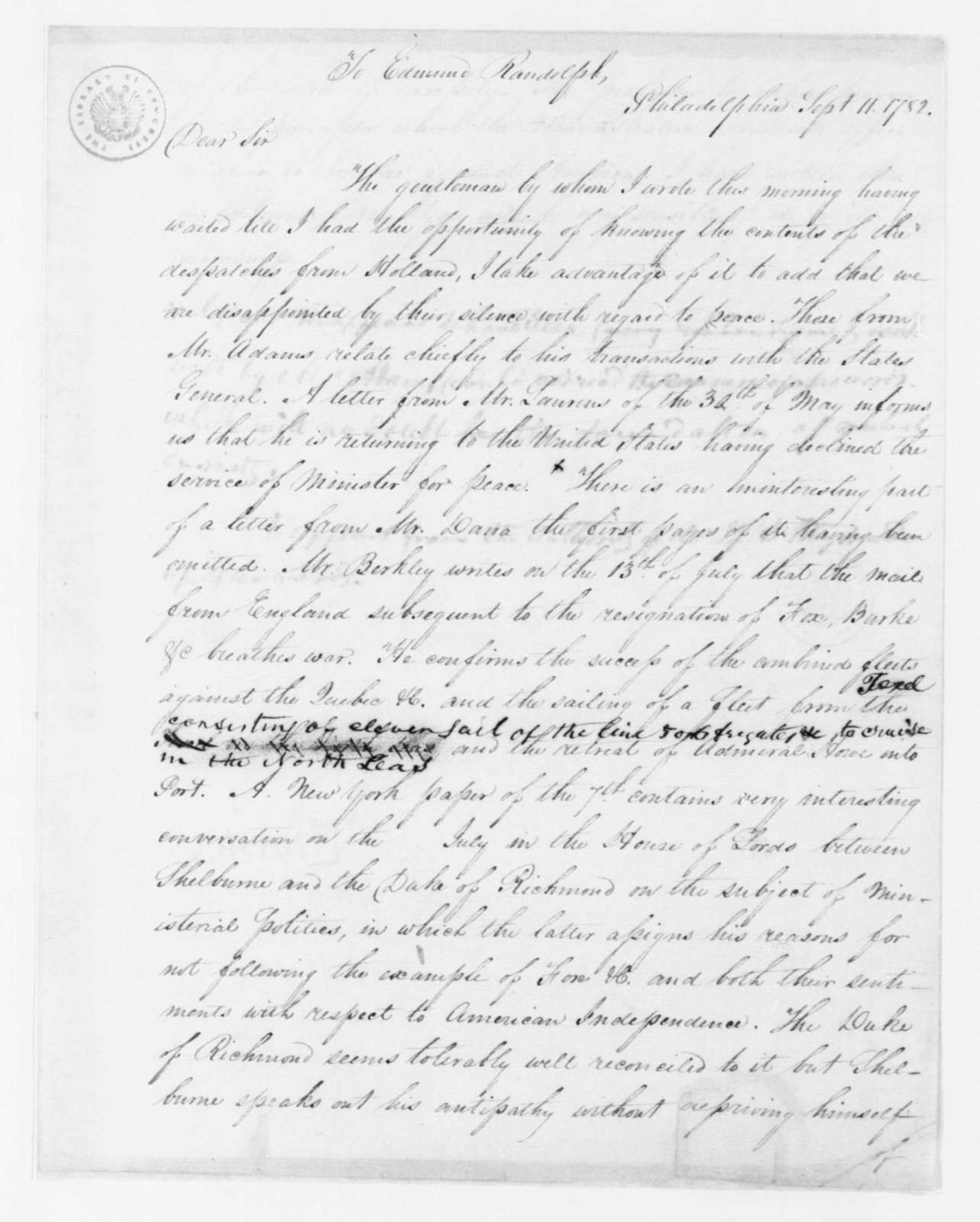 James Madison to Edmund Randolph, September 11, 1782. with copy.