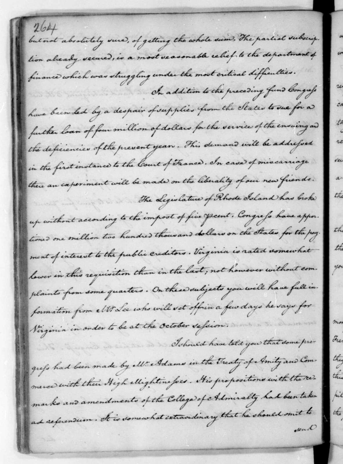 James Madison to Edmund Randolph, September 17, 1782.