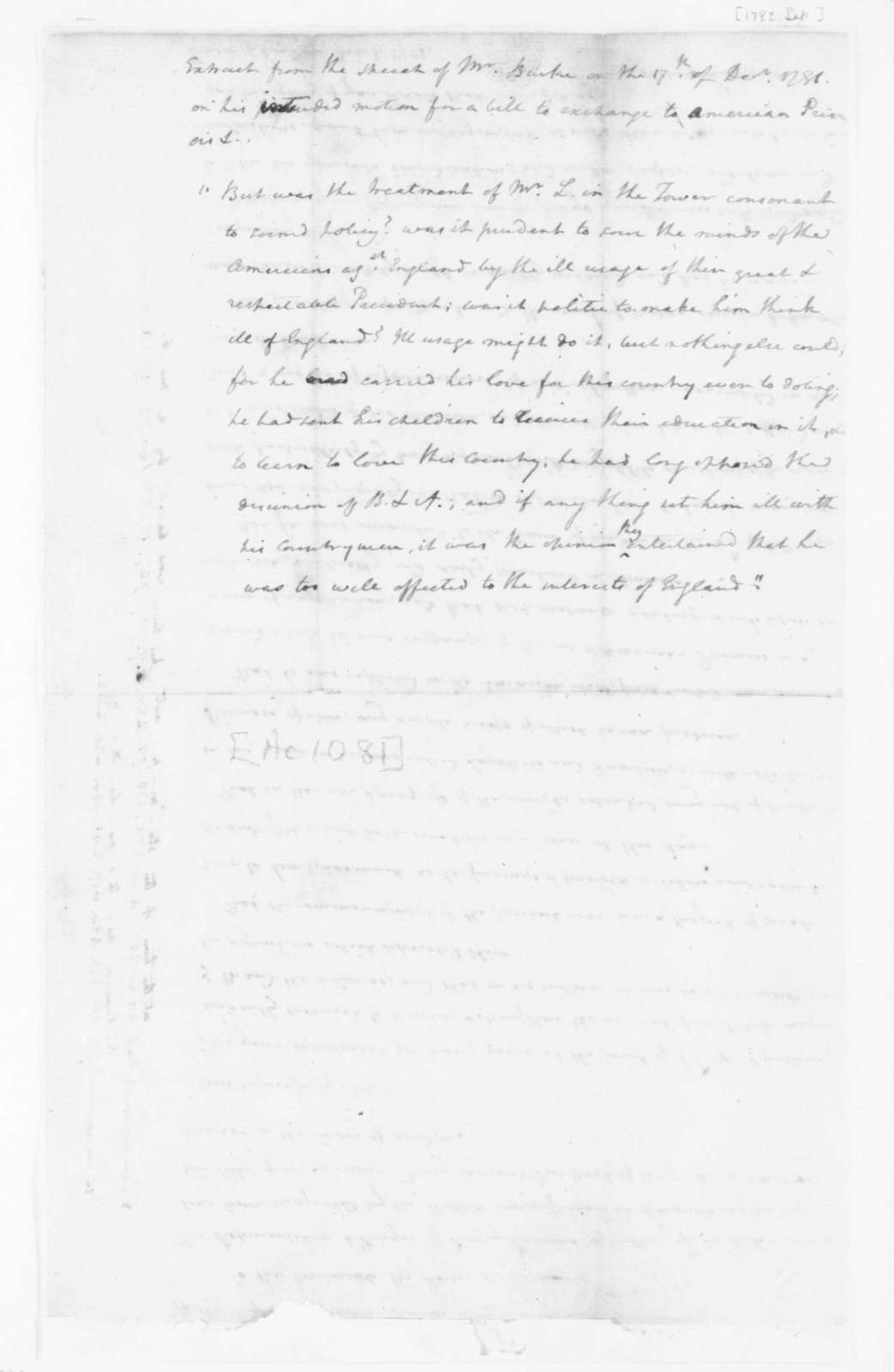 "James Madison to Edmund Randolph, September, 1782. ""Copy of Petition from Henry Laurens, Prisoner in."