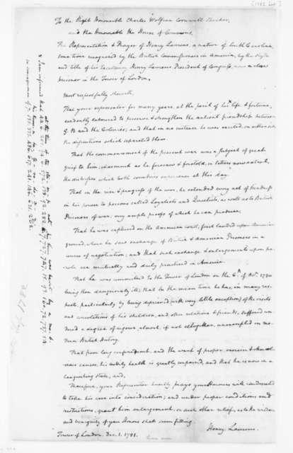 "James Madison to Edmund Randolph, September, 1782. ""Copy of Petition from Henry Laurens, Prisoner in."