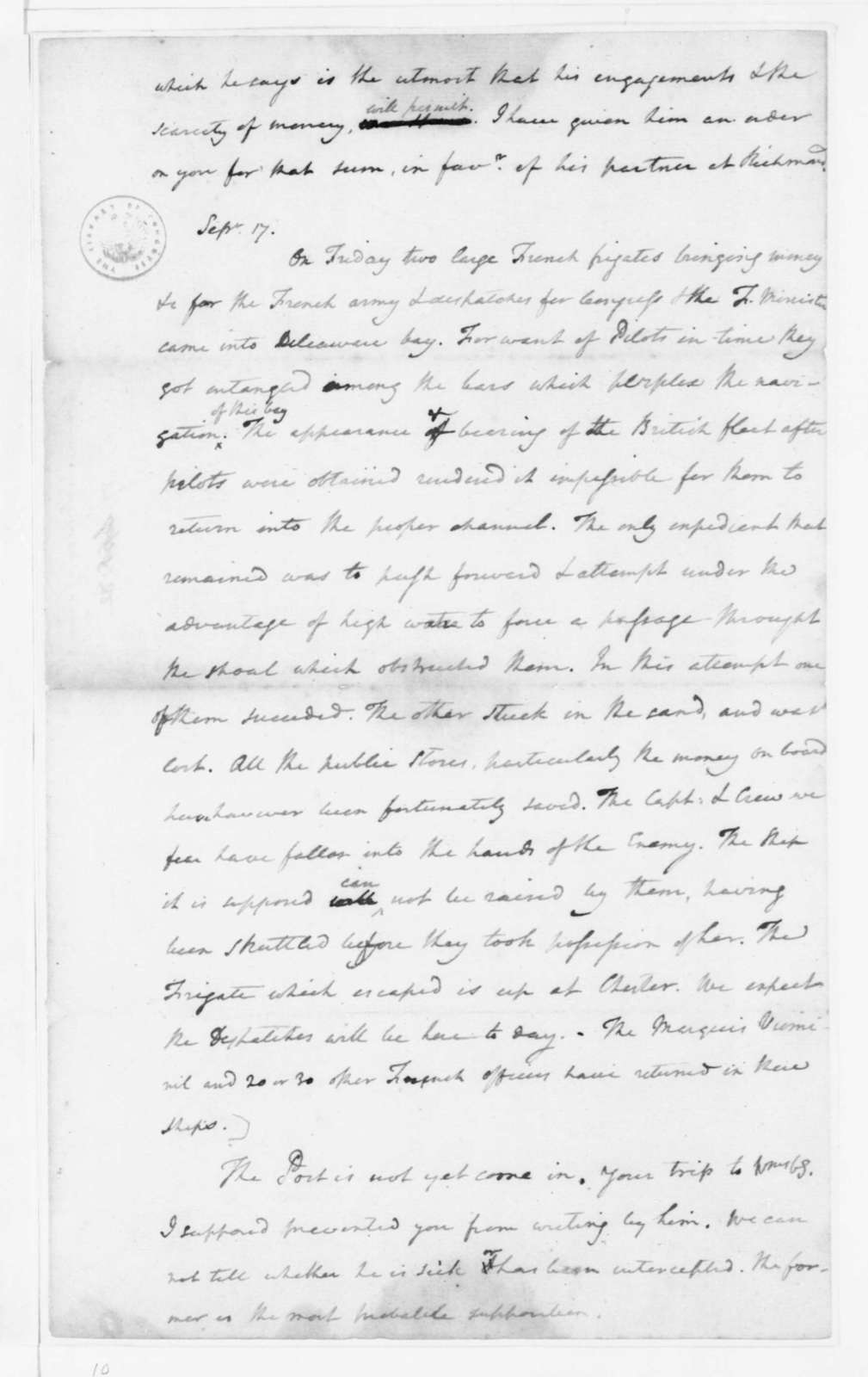 James Madison to Edmund Randolph, September 20, 1782. Party in Cypher.