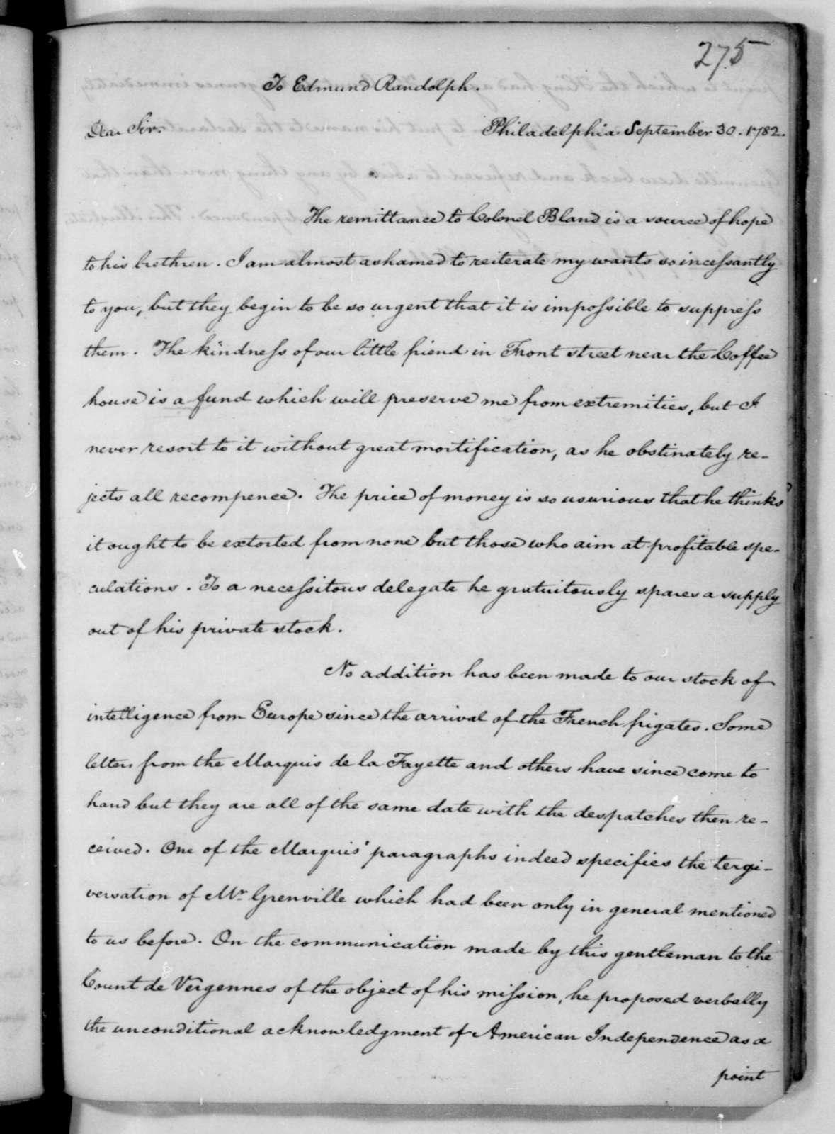 James Madison to Edmund Randolph, September 30, 1782.