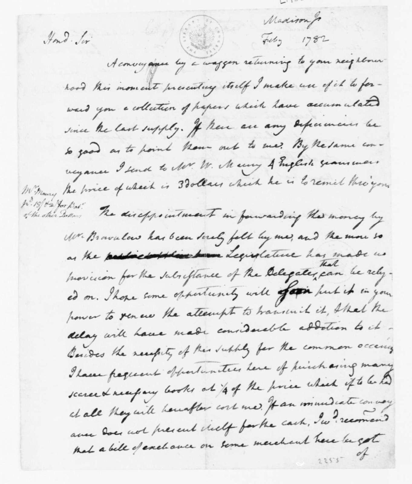 James Madison to James Madison, Sr., February 12, 1782.