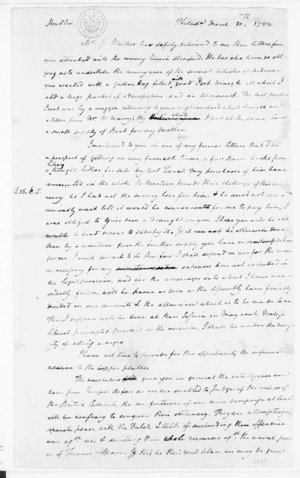 James Madison to James Madison, Sr., March 30, 1782.