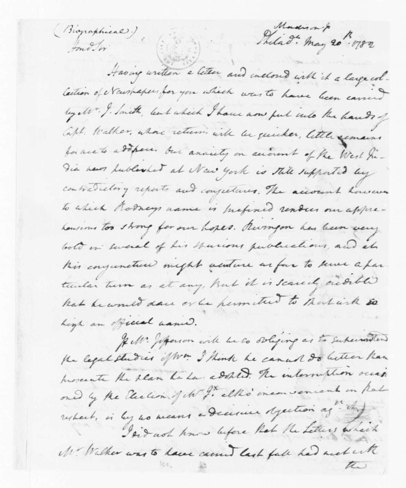 James Madison to James Madison, Sr., May 20, 1782.