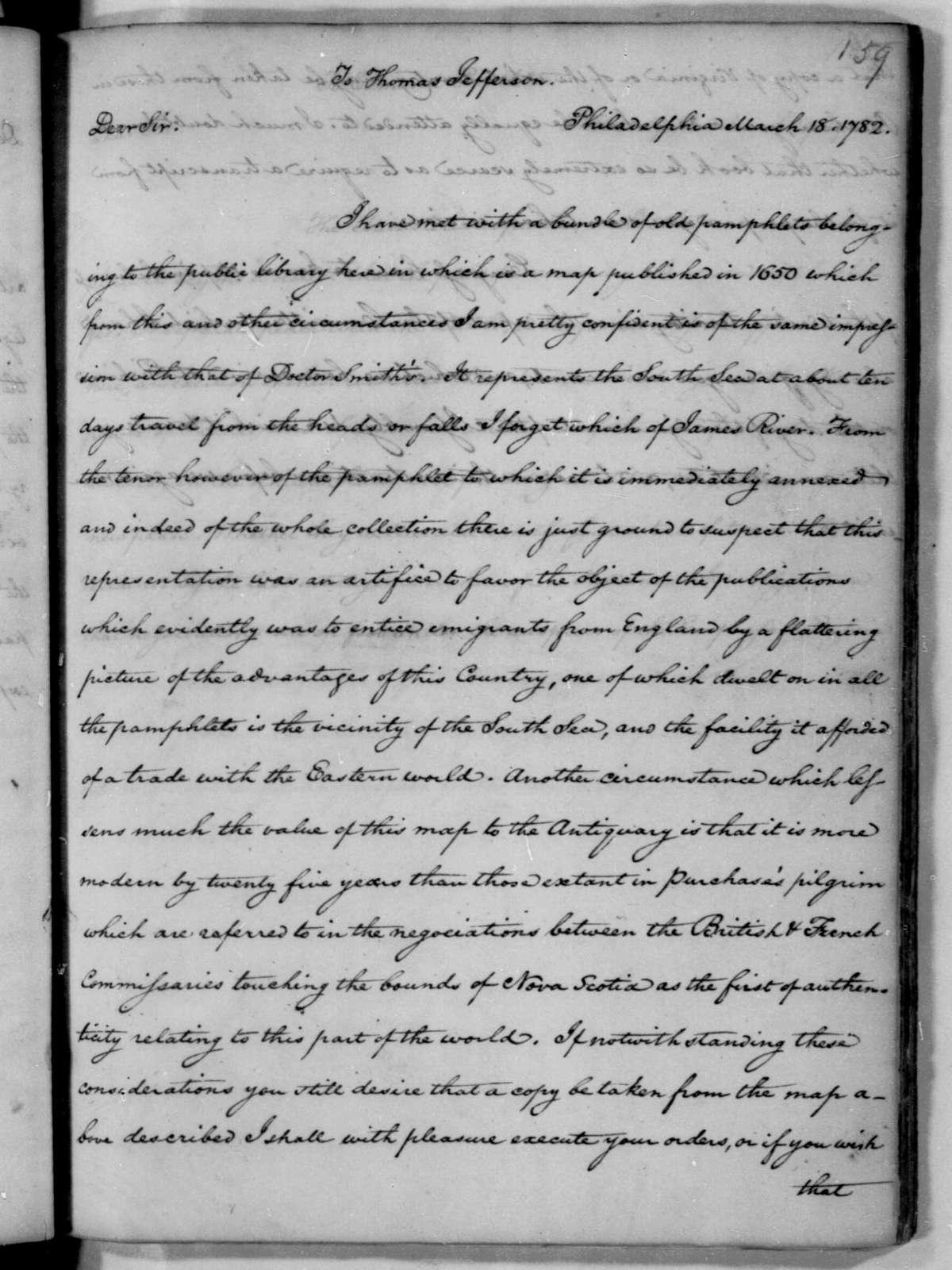 James Madison to Thomas Jefferson, March 18, 1782.