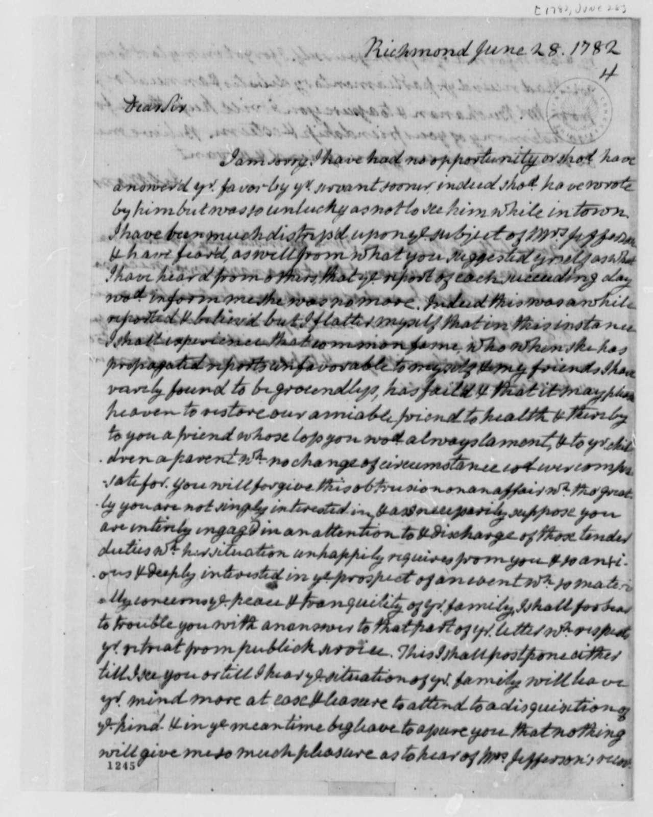 James Monroe to Thomas Jefferson, June 28, 1782