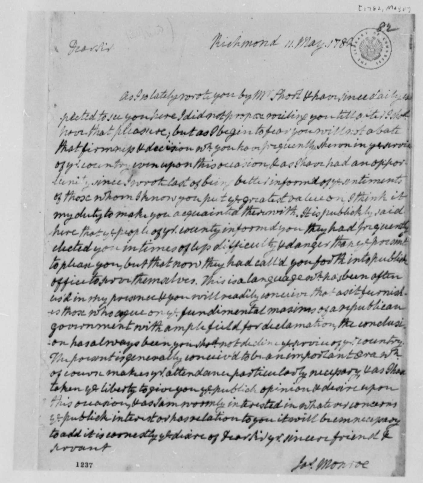 James Monroe to Thomas Jefferson, May 11, 1782