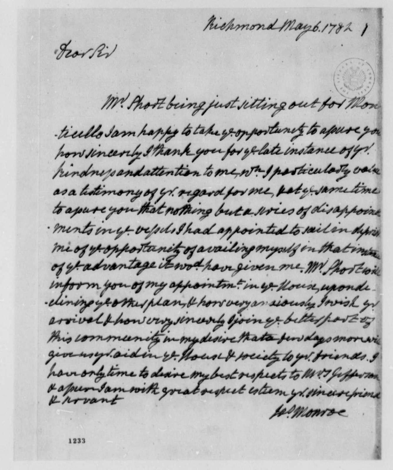 James Monroe to Thomas Jefferson, May 6, 1782