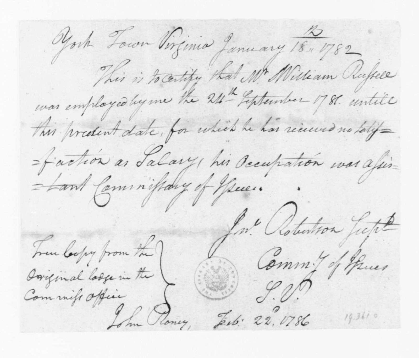 "John Robertson, January 18, 1782. ""Certificate, Employment of William Russell""."