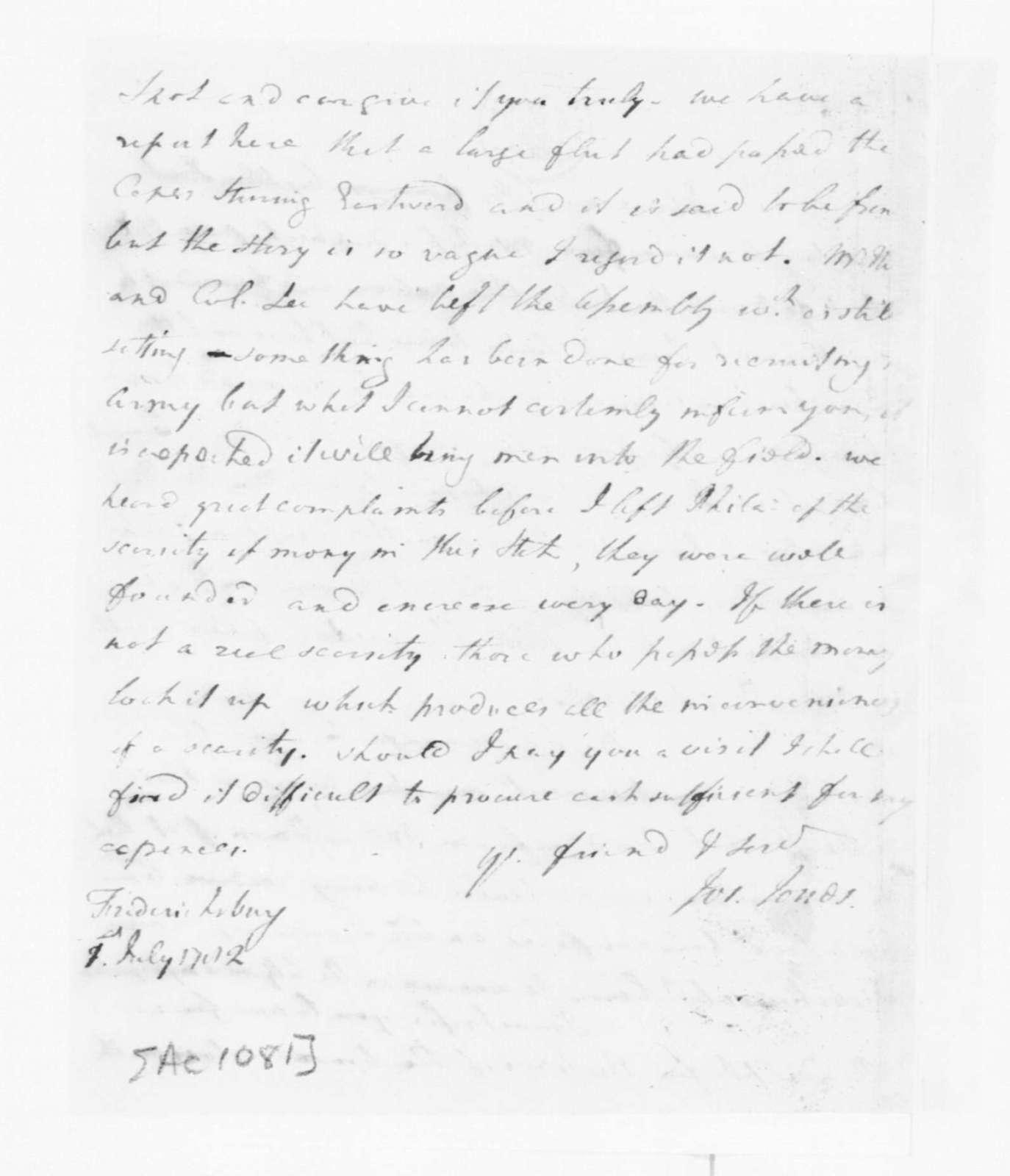 Joseph Jones to James Madison, July 1, 1782.