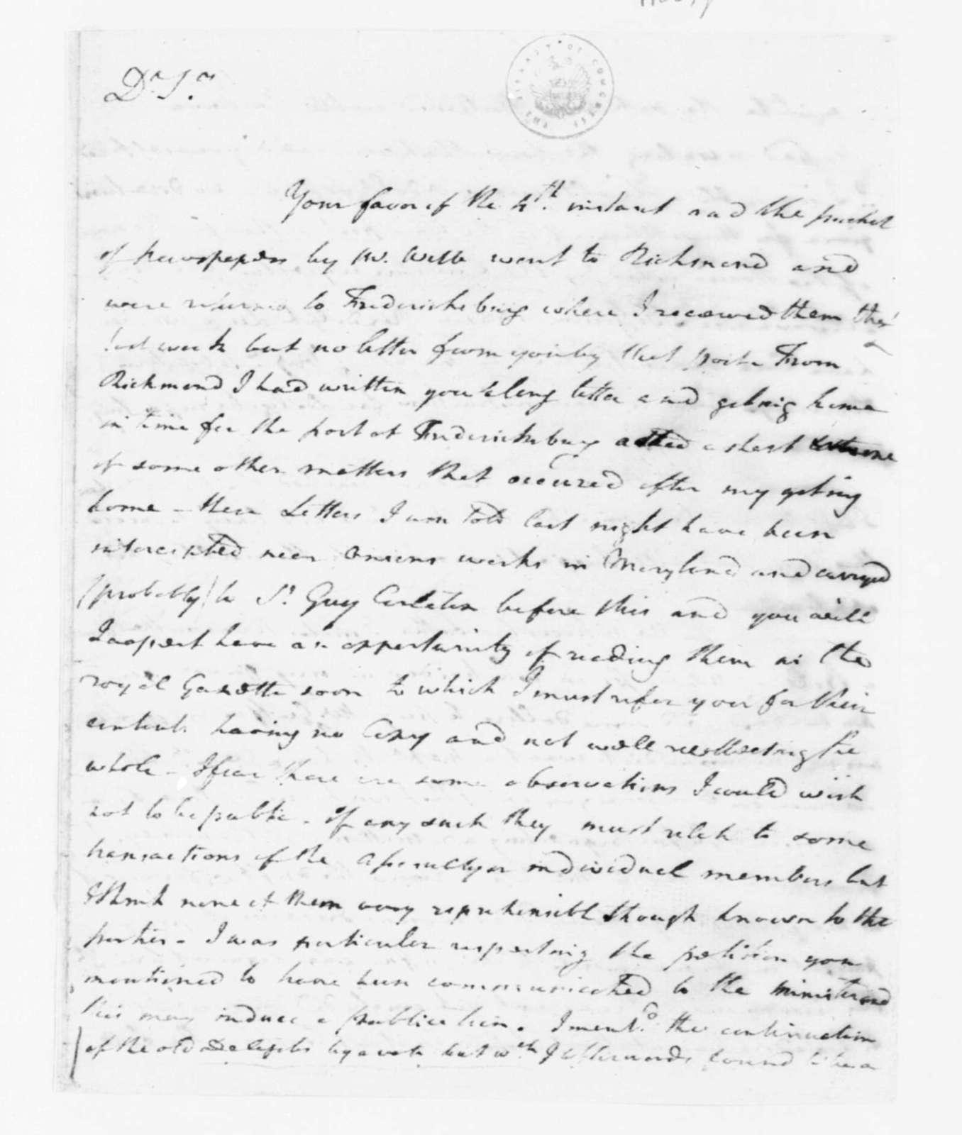 Joseph Jones to James Madison, June 25, 1782.