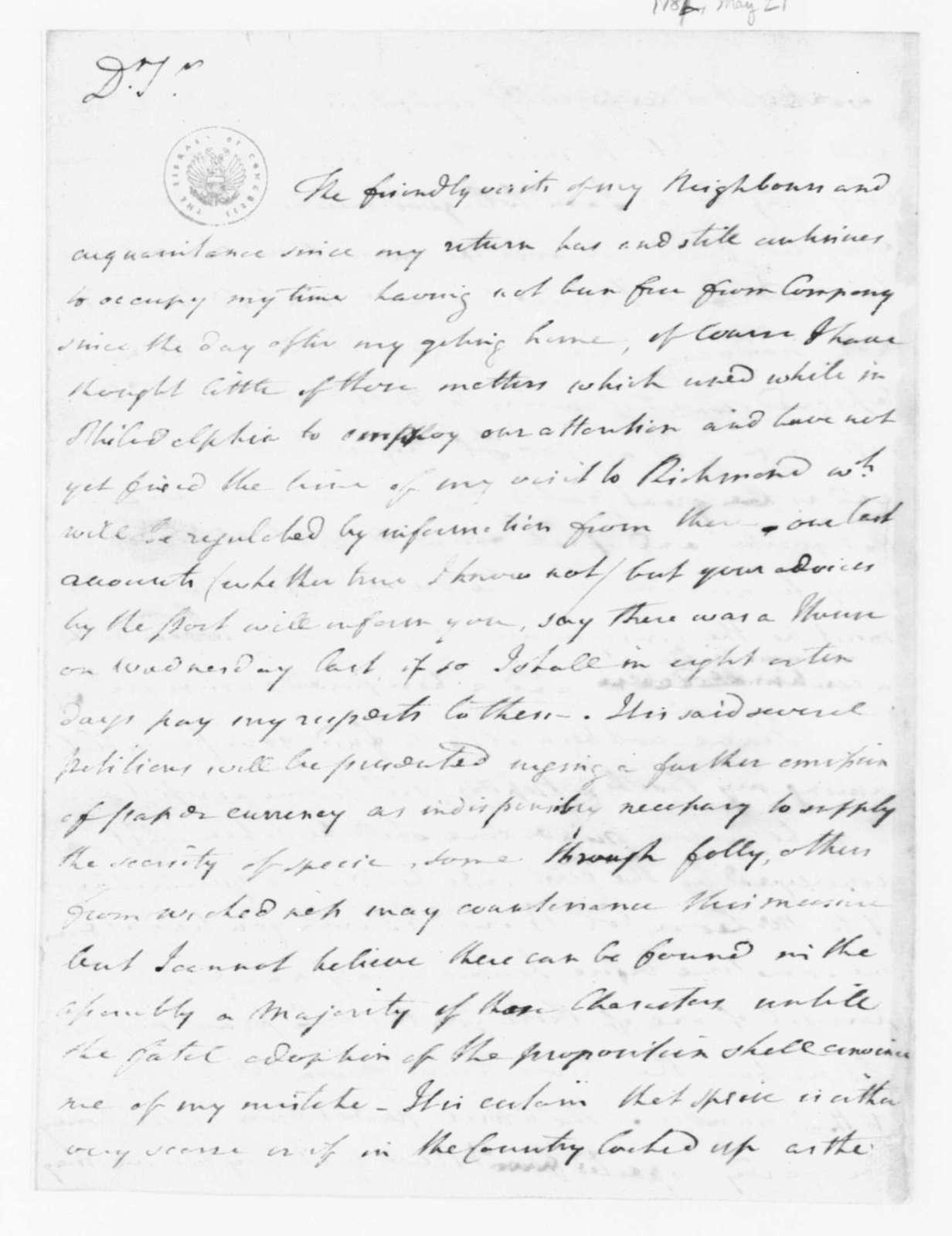 Joseph Jones to James Madison, May 21, 1782.