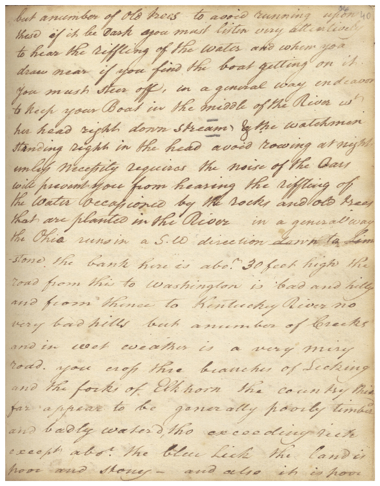 Journal of William Brown while traveling from Virginia to Kentucky