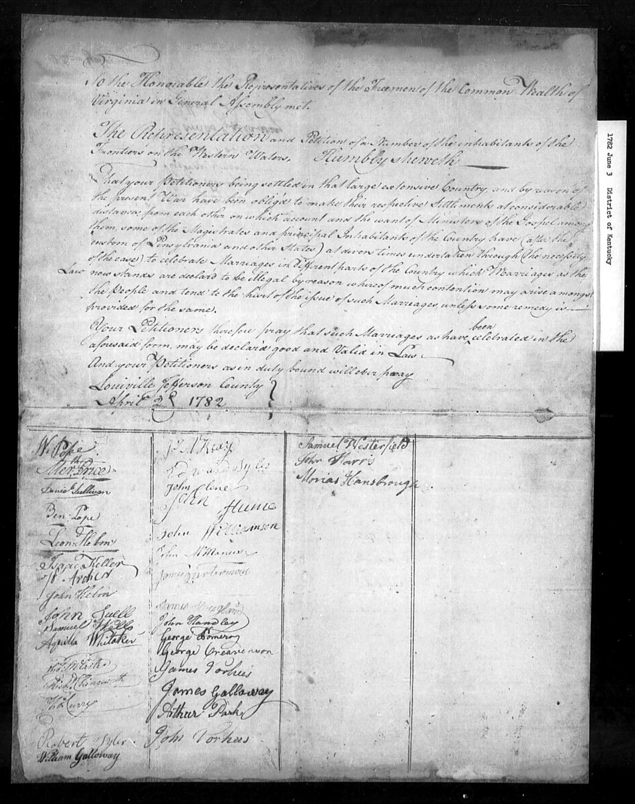 June 3, 1782, District of Kentucky, Due to shortage of ministers, to declare marriages already performed by civil officers legal.
