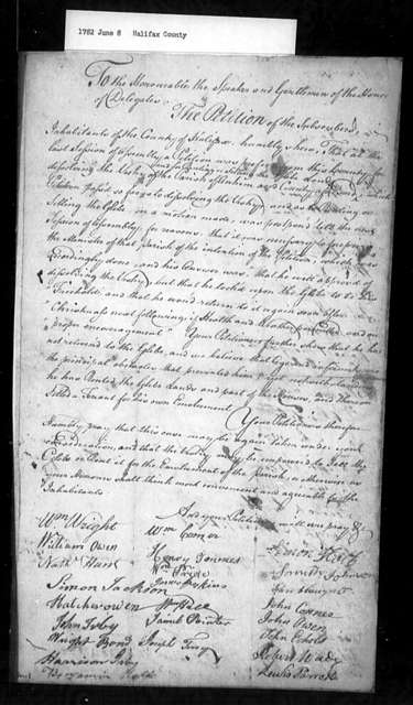 June 8, 1782, Halifax, To sell or rent glebe considered by minister of Antrim Parish to be his personal freehold.