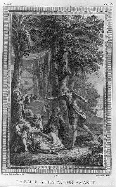 La balle a frappé son amante / dessiné par le Barbier peintre du Roi ; gravé par L. Halbou.