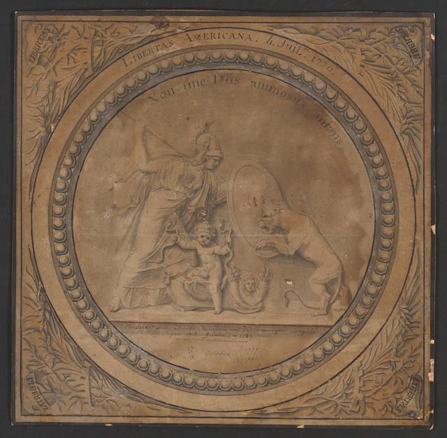 Libertas Americana. 4 Juil. 1776 Non sine Diis animosus infans / / dessin de la medaille des etats unis de l'amerique compose par A.E. Gibelin en 1783.