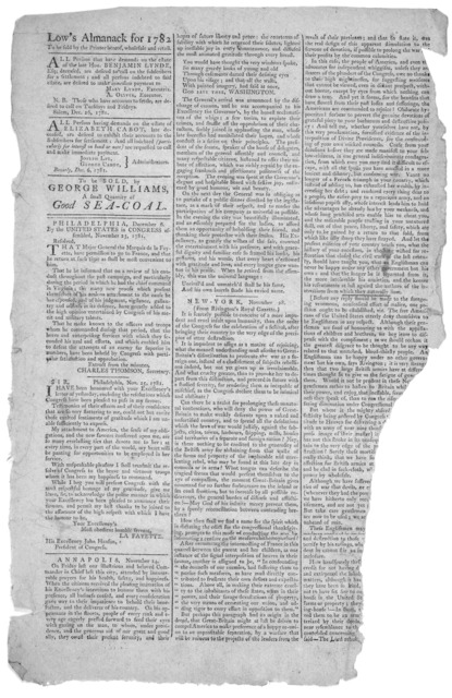 Low's almanack for 1782.