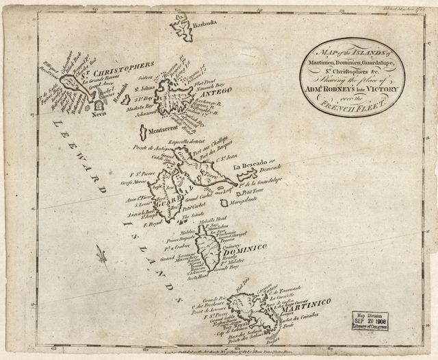 Map of the islands of Martinico, Dominico, Guardalupe, St. Christophers &c. shewing the place of Adml. Rodney's late victory over the French fleet.