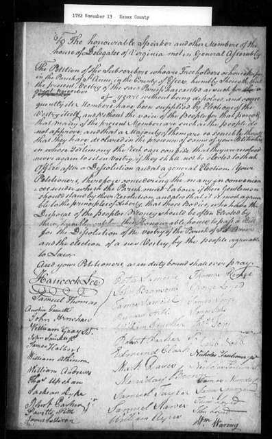 November 13, 1782, Essex, St. Anne's Parish, for dissolution of vestry.