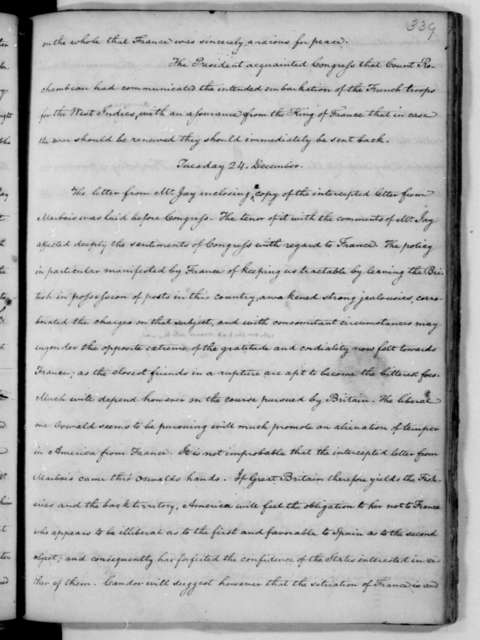 November 4, 1782. John C. Payne's copy of James Madison's Notes of the Continental Congress Debates.