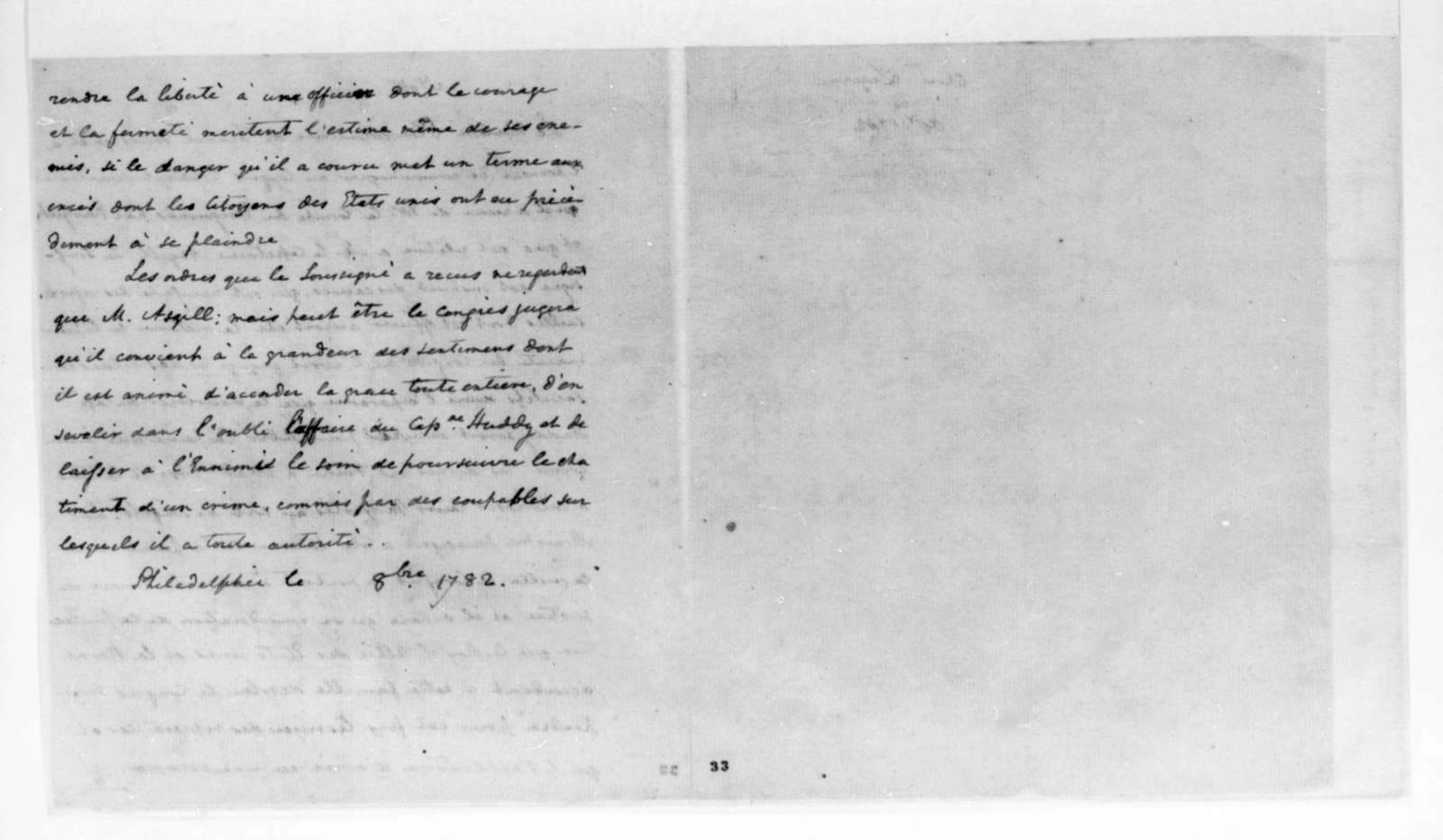 October, 1782. Note in French to United States Congress.