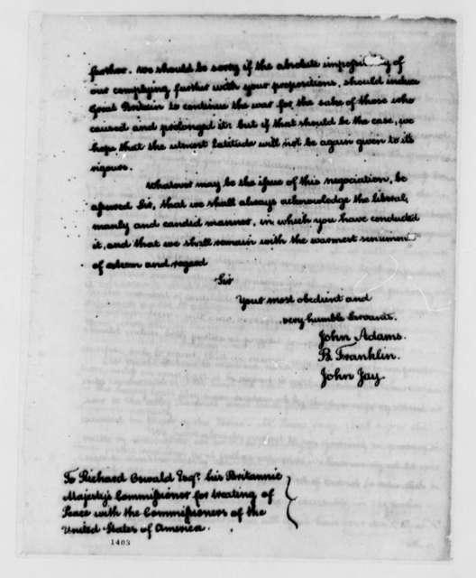 Peace Commissioners; John Adams, Benjamin Franklin, and John Jay to Richard Oswald, 1782