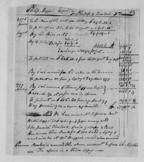 Philip Mazzei Phripp & Bowdoin, December 27, 1782, Financial Account