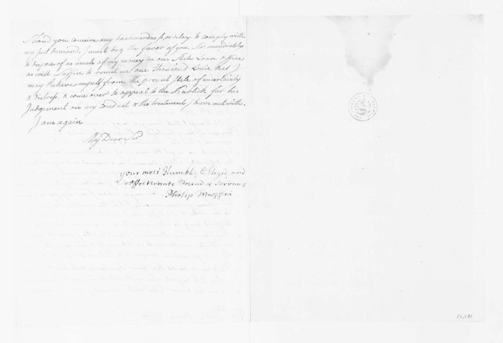 Philip Mazzei to James Madison, April 5, 1782.