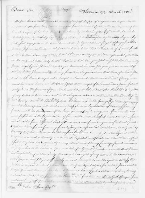 Philip Mazzei to John Blair, March 22, 1782.