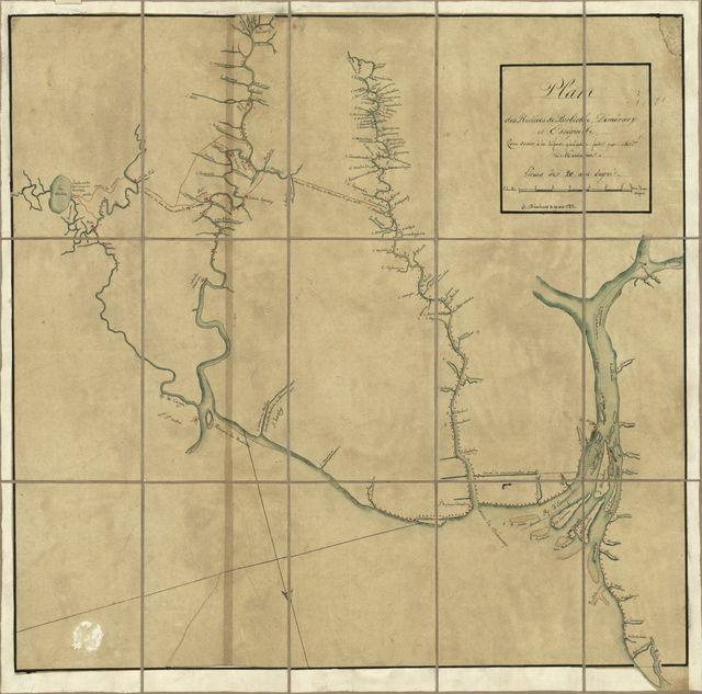 Plan des rivières de Berbiche, Demerary, Essequebe : pour servir à la défense générale faite par Mms. De Kersains (?).