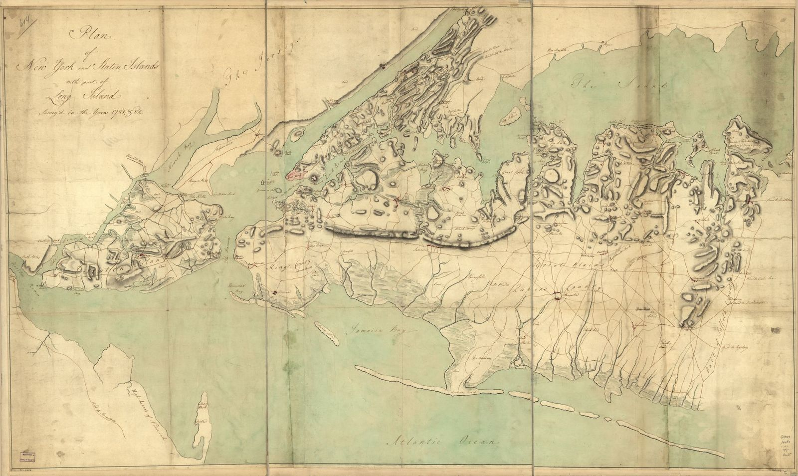 Plan of New York and Staten Islands with part of Long Island, survey'd in the years 1781, & 82.
