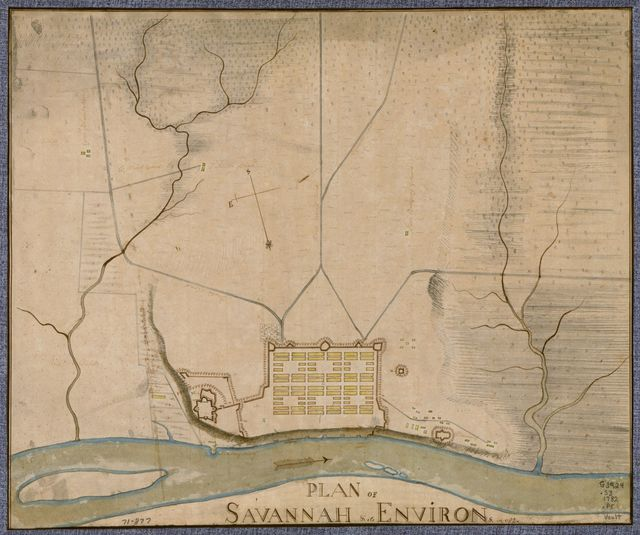 Plan of Savannah & its environs in 1782.