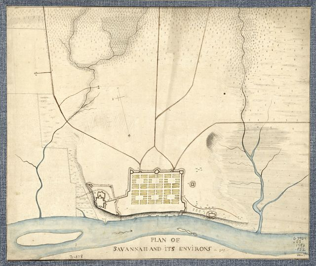 Plan of Savannah and its environs in 1782.
