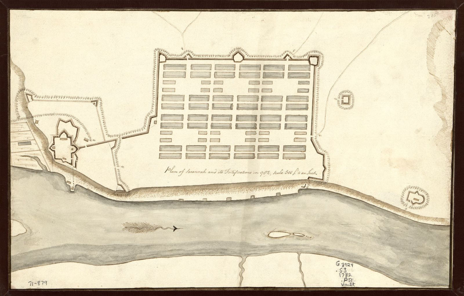 Plan of Savannah and its fortifications in 1782.