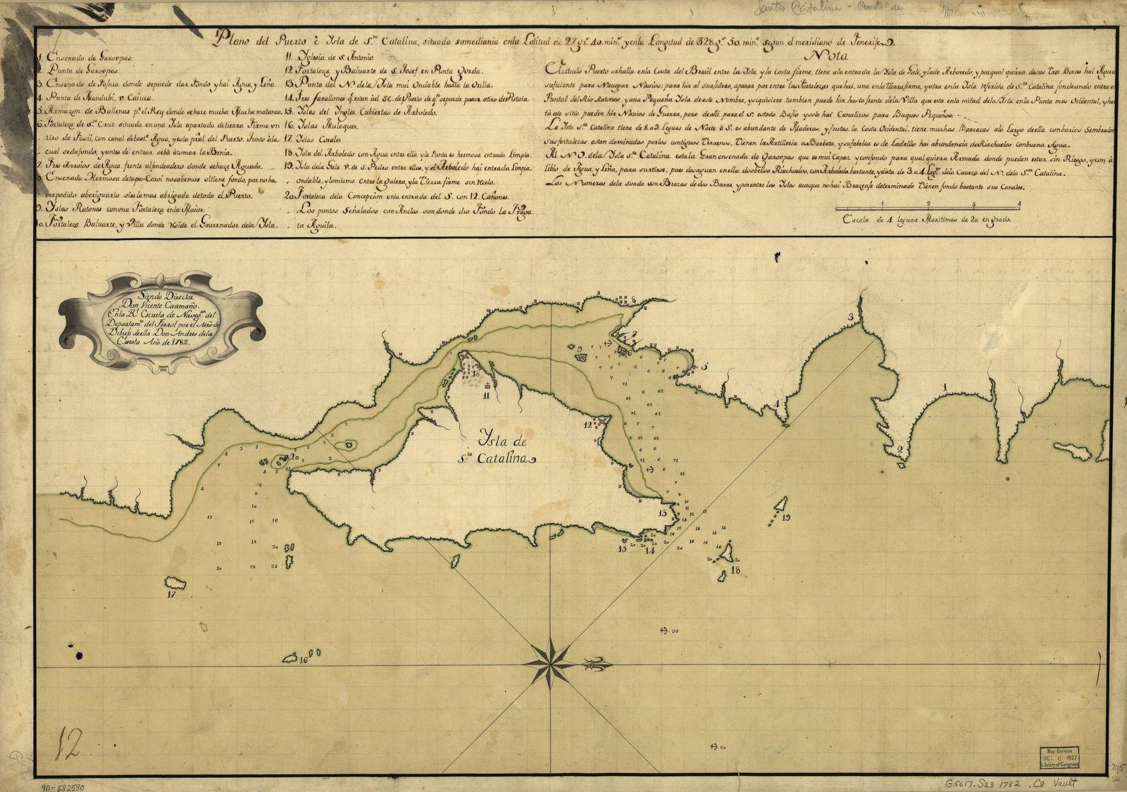 Plano del puerto è ysla de Sta. Catalina situada sumediania en la latitud de 27 grs. 40 mins. y en la longitud de 328 gs. 50 mins. segun el meridiano de Tenerife /