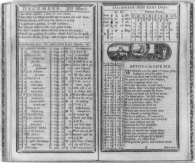 Poor Richard's Almanac Improved, 1782