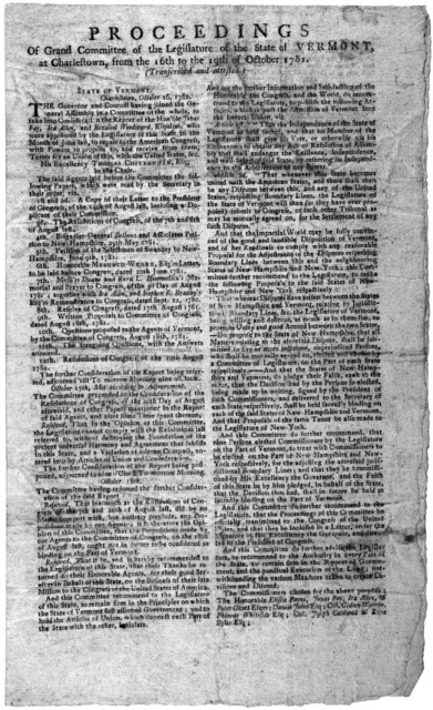 Proceedings of Grand Committee of the Legislature of the State of Vermont at Charlestown, from the 16th to the 19th of October 1781 (Transcriber and attested.) [Regarding the union of Vermont with the United States. And the jurisdictional line o