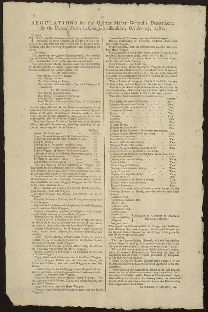 Regulations for the Quarter Master General's Department : By the United States in Congress assembled, October 23, 1782.