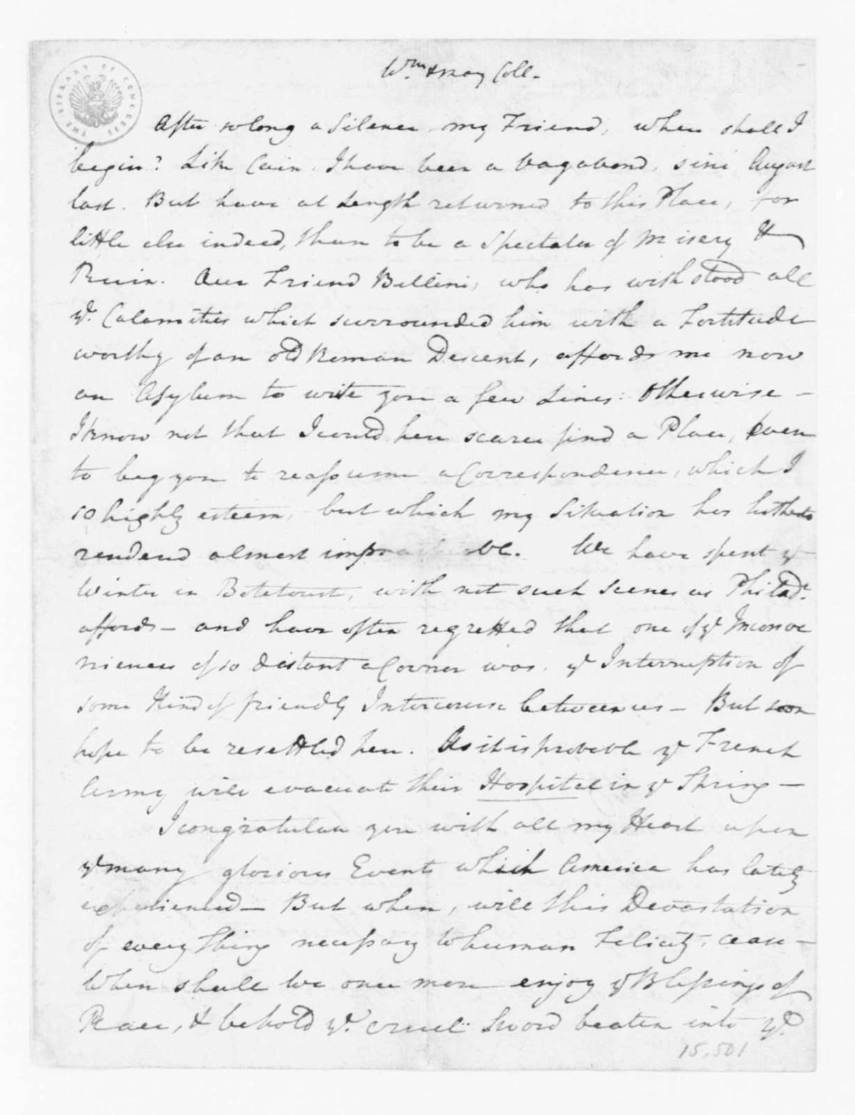 """Reverend James Madison to James Madison, March, 1782. """"with Note appened from Carlo Bellini, in Italian""""."""