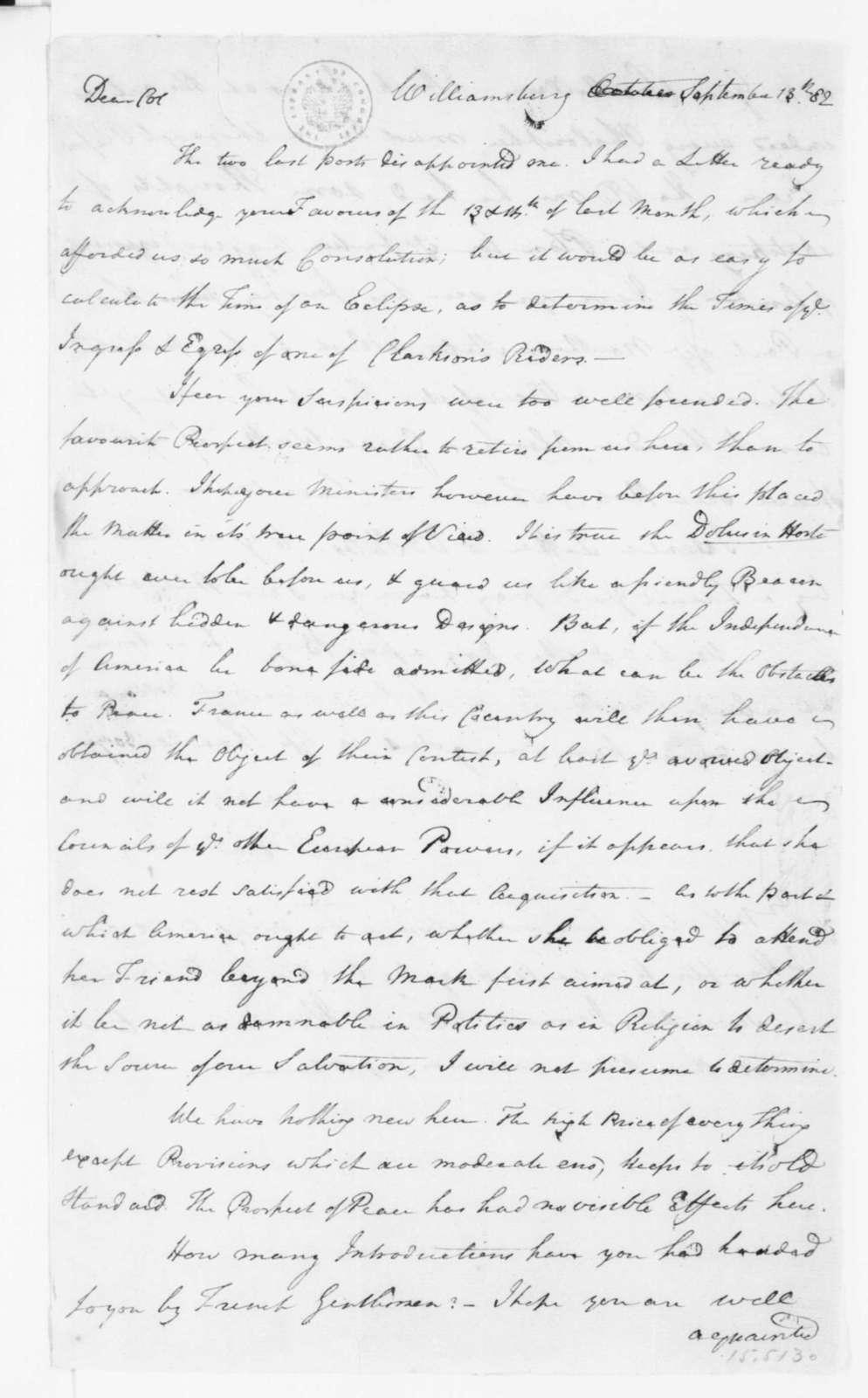 Reverend James Madison to James Madison, September 13, 1782.