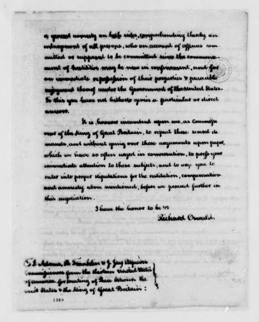 Richard Oswald to Peace Commissioners, November 4, 1782