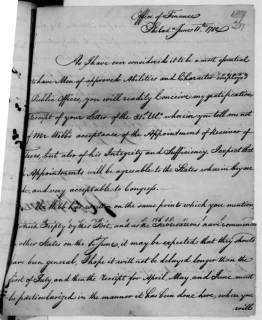 Robert Morris to Edmund Randolph, June 11, 1782. Includes typed transcription.