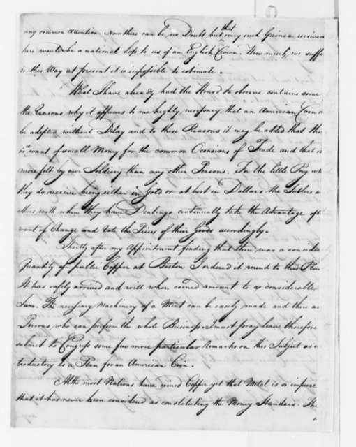 Robert Morris to John Hanson, January 15, 1782