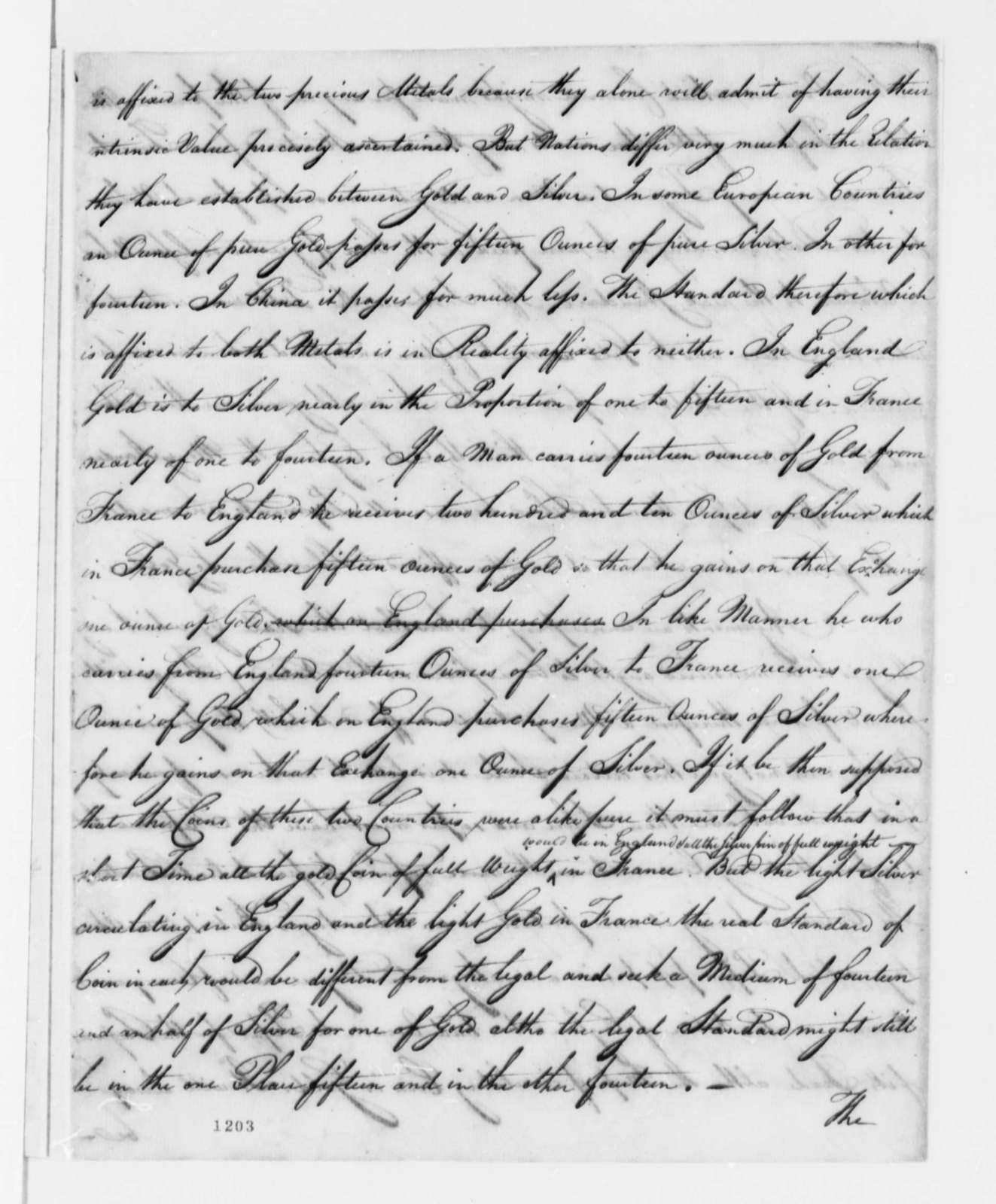 Robert Morris to John Hanson, January 15, 1782