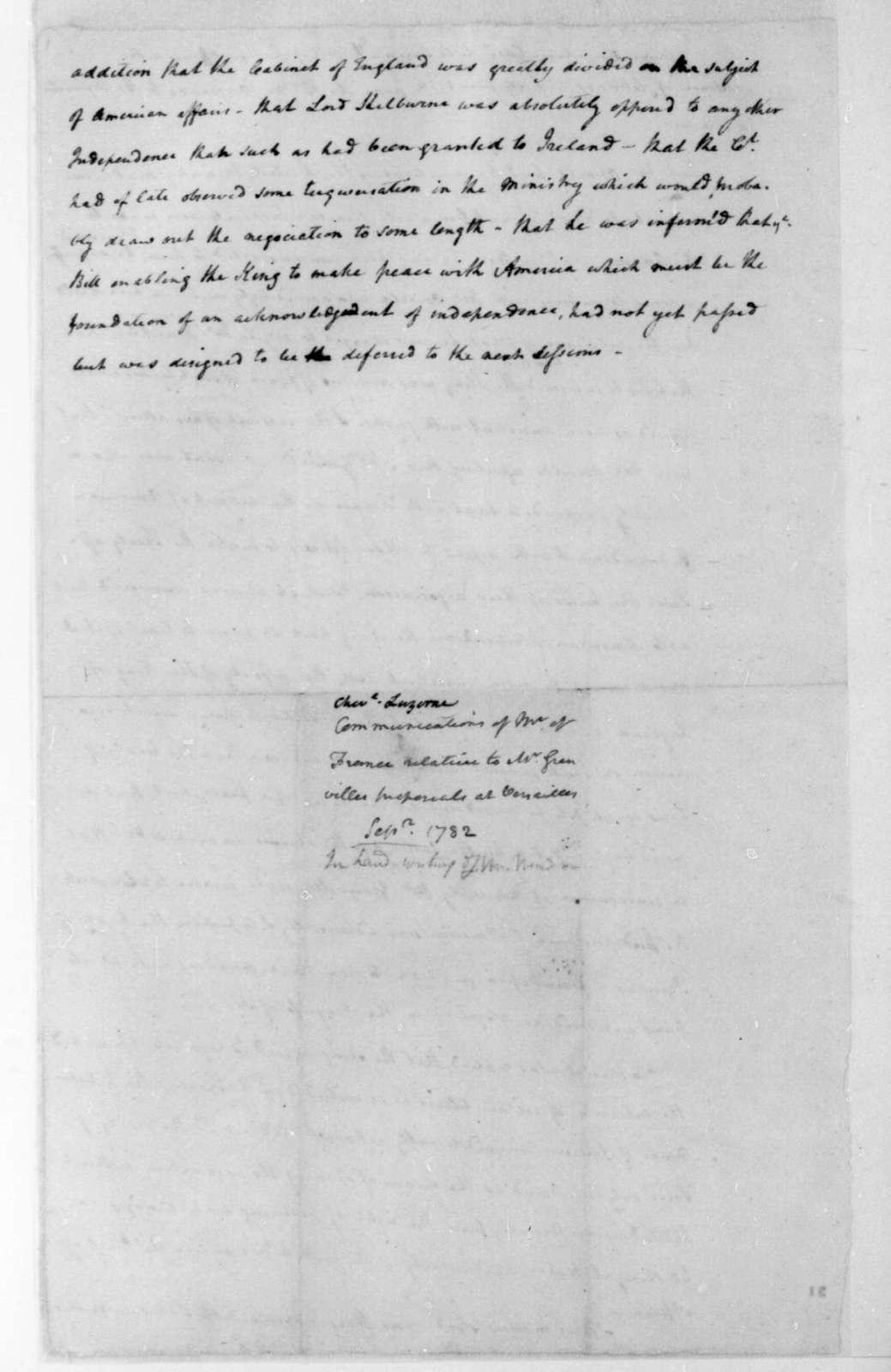 September,1782. James Madison notes on a conversation between Vergennes & La Luzerne.