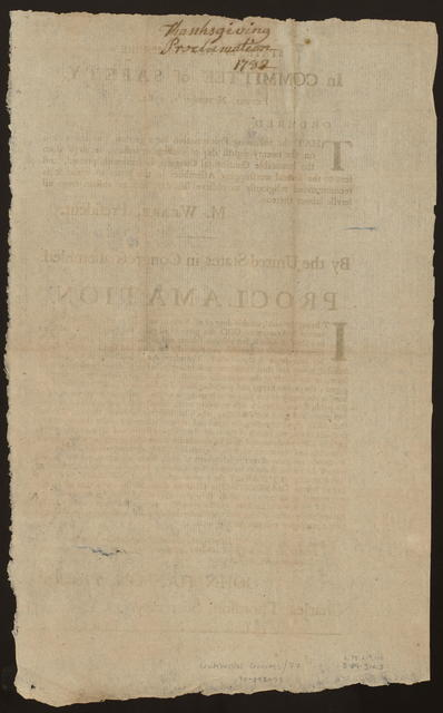 State of New-Hampshire. In Committee of Safety, Exeter, November 1, 1782 : Ordered, that the following proclamation for a general thanksgiving on the twenty-eighth day of November instant, received from the honorable Continental Congress, be forthwith printed ...